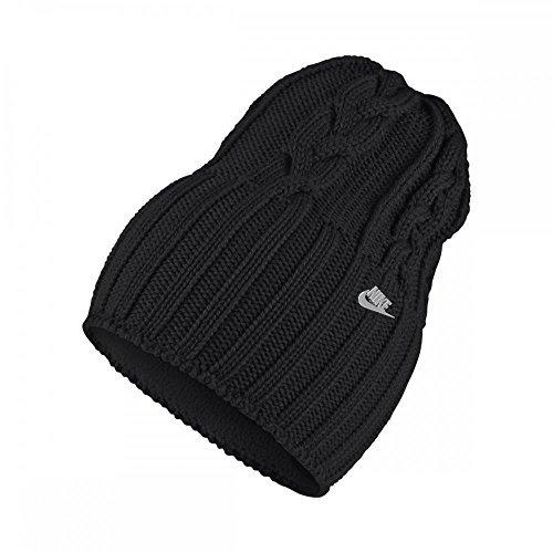 Nike Womens Cable Knit Beanie Hat Black/Metallic Silver (Beanie Nike Wool)