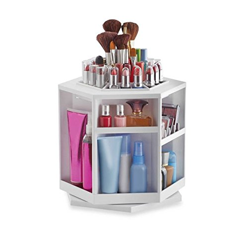 Spinning Cosmetic jewelry box /Makeup / Cosmetics Organizer-White