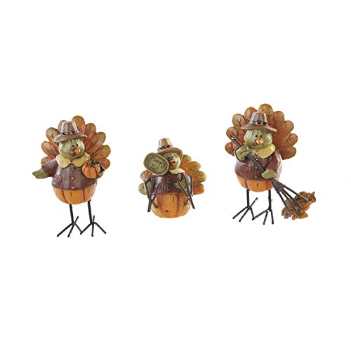 Goose Creek Autumn Inspirations Turkey Dolls Polystone Fall Table Decorations (Set of 3) by Goose Creek