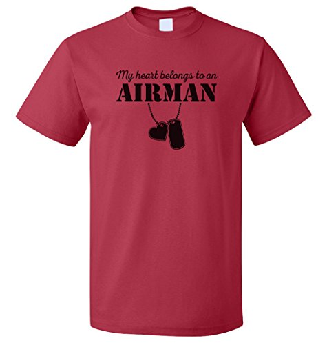Egoteest Air Force Shirt - Keep Calm My Heart Belongs To a Airman - US Air Force Girlfriend Shirt - USAF Girlfriend - USAF Wife (Red, Small)