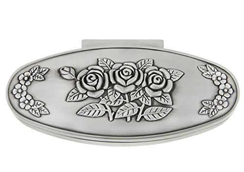 Classic Vintage Antique Tin Oval Jewelry Box Treasure Storage Organizer Chest with Rose Pattern