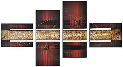 Noah Art-Modern Abstract Artwork, 100 Hand Painted with Acrylic Burgundy Red Abstract Oil Paintings on Canvas, 4 Panel Gallery Wrapped Framed Gold Abstract Wall Art for Living Room Home Decor