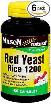 Mason Natural Red Yeast Rice Capsules - 60ct, Pack of 6