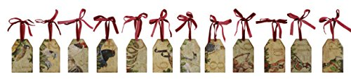 Twelve Days of Christmas Lacquered Wood Tag Ornament - 2 Sets of 12 by Heart of America
