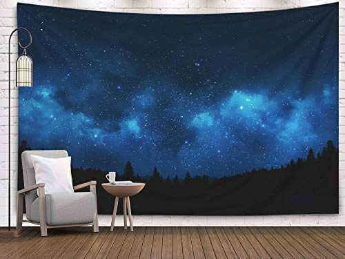 (Jesmacti Art Tapestry, 60x50 Inch Wall Tapestry Dormitory Rrenovation Mountain Landscape Showing Pine Trees Against Night Sky Shot Univ Bedside Camping Adventure Decorative Cloth Hanging Art Tapestry)