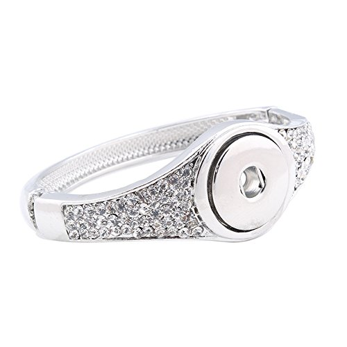 (Interchangeable Snap Jewelry Push Button Hinge Bangle Clear Rhinestone Medium Size Wrist by My Prime Gifts)