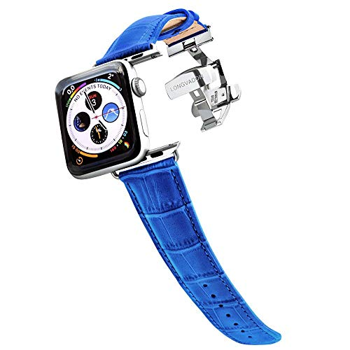 Longvadon Men's Watch Band - Compatible with Apple Watch Series 1, 2, 3 (42mm) & Series 4 (44mm) - Genuine Top Grain Leather - Caiman Series, Mediterranean Blue with Silver Details ()