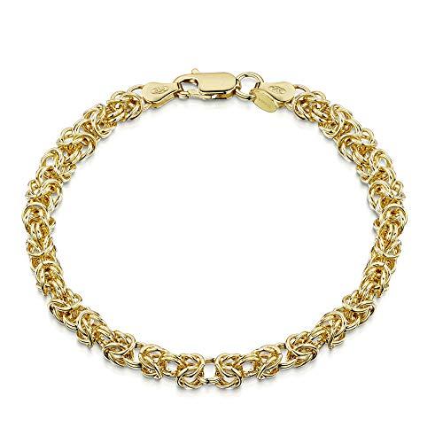 Amberta 18K Gold Plated on 925 Sterling Silver 4.7 mm Byzantine Chain Bracelet Length 7.5