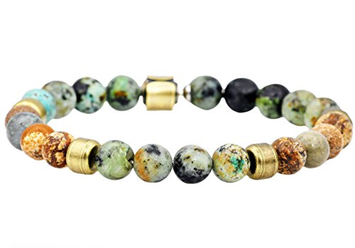 Blackjack Mens Genuine African Turqoise and Jasper Gold Plated Stainless Steel Beaded Bracelet