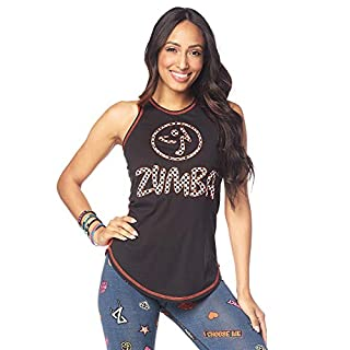 Zumba Workout High Neck Tank Top Activewear Graphic Dance Fitness Top for Women