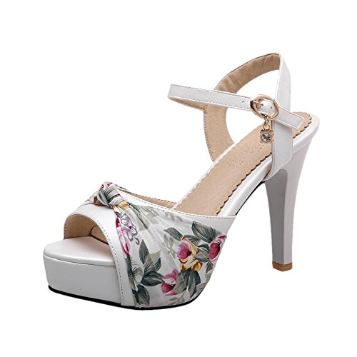 White Print Floral High Womens Stiletto Party Dress Platform Toe Heel Date Carolbar Sandals Chic Buckle Peep wtZdEtqB