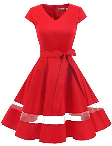 9e4d89bc1ec ... Dresses Gardenwed Women s V-Neck Audrey Hepburn 1950s Vintage Cocktail  Dress Cap Sleeve Retro Rockabilly Swing Party Dress Red-S.   
