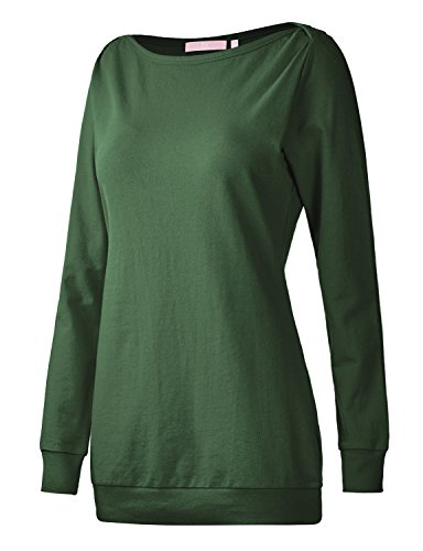 Regna X Boho for Women Yoga Casual Tops Green Large Boatneck Long Pullover Sweatshirts