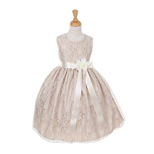 Cinderella Couture Big Girls Champagne Lace Ivory Sash Sleeveless Dress 12