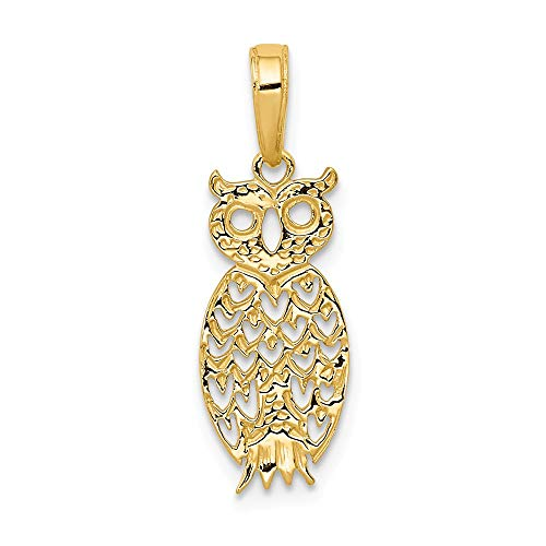 - 14k Yellow Gold Owl Pendant Charm Necklace Bird Fine Jewelry Gifts For Women For Her