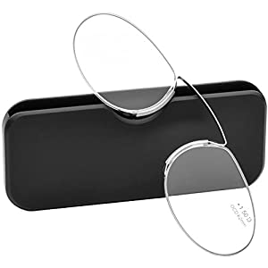 Pince Nez Style Clamp Nose Resting Pinching Reading Glasses (BLACK, 2.00)
