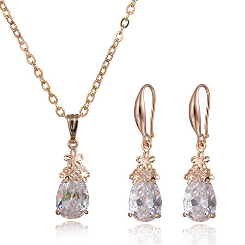 Teniu Bridal Gold Plated Teardrop Earrings Necklace Crystal Jewelry Sets for ()