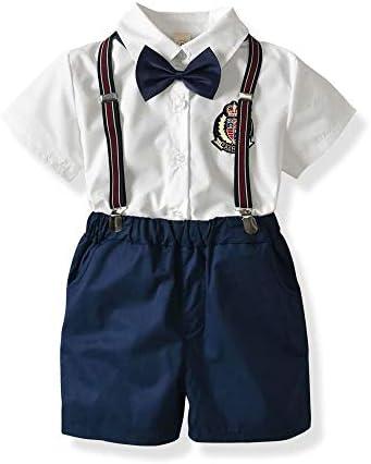 キッズ紳士ツーピース服セット、蝶ネクタイ半袖シャツ+サスペンダーショートパンツ、1-6年#213