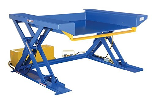 (Vestil Ground Lift Scissor Table - 2000lb. Capacity, 70in.L x 44in.W Platform, Raised Height: 48in., Model# EHLTG-4470-2-48)