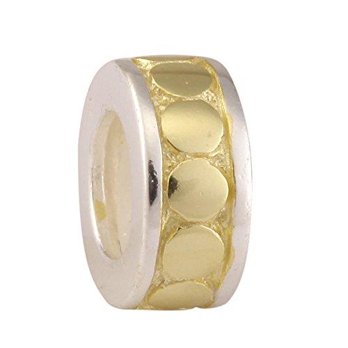 Sterling Silver Charm Gold Platted Rubber Stopper Charm for European Charm Bracelets #EC177