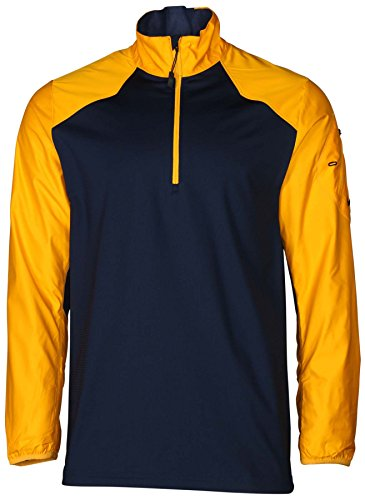 Nike Men's Dri-Fit 1/2 Zip Hybrid Mock Neck Football Shirt-Navy/Gold-Medium