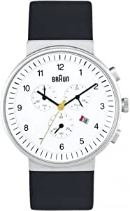 Braun Chronograph Watch 40mm, White Face, Black Leather Band