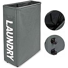 WISHPOOL Slim Rolling Foldable Laundry Hamper Thicken Oxford Cloth Handle Laundry Basket on Wheels Grey L15.4 x W7.8 x H22 Inch