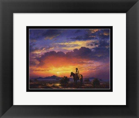 フレーム印刷11 x 14 Western Landscape by Jack Sorensonサンセットカウボーイ   B01JVGS0GO