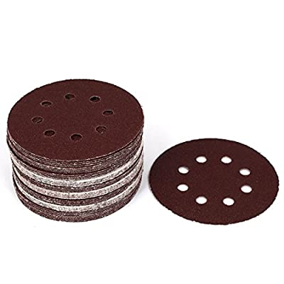 uxcell 125mm Dia 40 Grit 8 Holes Hook and Loop Sanding Paper Discs 50 Pcs