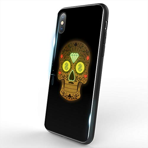 Skull Back Cover - WILLGOO LED iPhone Xs Max Case,Music Activated Coolest UnFade Pattern Flashing to The Beat of Music,Tempered Glass Back Cover (Skull)