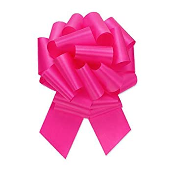 1 and 7//8 Inch Ribbon Set of 10 Premium Quality Gift Wrap Paper nwpllbwbtyhtpnk5.5-10 5.5 Inch Wide 20 Loops Hot Pink Pull String Bows