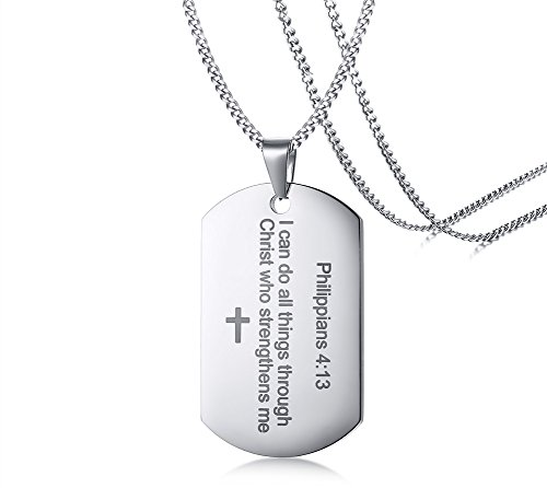 Philippians 4:13 Bible Verse Engraved Stainless Steel Dogtag Pendant Necklace for Men,Christian Religous Jewelry,Silver by Mealguet Jewelry