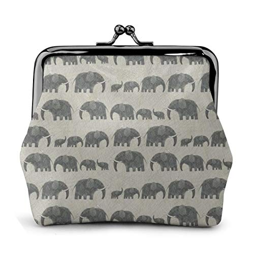 AMBOSELI KENYA ELEPHANT PARADE Womens Buckle Coin Purses Vintage Pouch Kiss-lock Change Purse Wallets