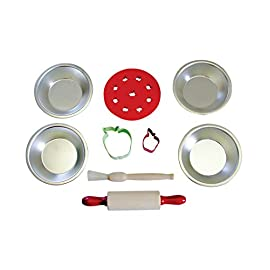 R&M International 2252 Junior Cookie and Baking Set, Includes Pans and Tools, 11-Piece Set 3 Junior-sized baking set makes a great gift! Includes: Cookie Sheet, Mini Pie Pan, Mini Muffin Pan, Mini Loaf Pan, Mini Heart Pan , 2 Tart Pans, Wood Spoon, Mini Rolling Pin, Pastry Brush, and Spatula Real mini kitchen tools and bakeware