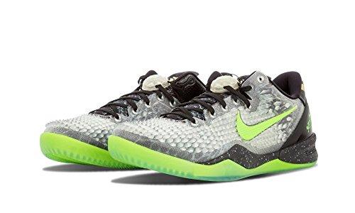 Nike Heren Kobe 8 Systeem Ss Kerst Synthetische Basketbalschoenen Zwarte Elektrische Groen Cool Grey Metallic Goud 001
