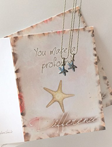 Smiling Wisdom - 2 Bubble Starfish Story Hand Painted Aqua Enamel Gift Sets - You Make Profound Difference Greeting Card - Show Appreciation to Friend, Teacher, Volunteer, Teenager - For 2 (Starfish Story Gifts)