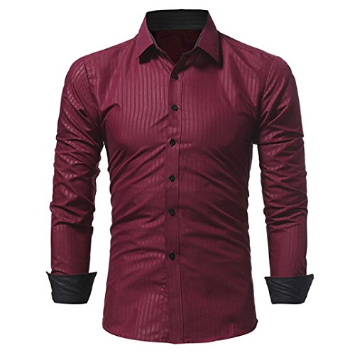 Mysky  Mens Long Sleeve Tunic Tops Stripe Slim Button Shirt Stand Collar Solid Blouse (Wine Red, M) by My*sky Tops
