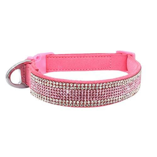 Beatybag Dog Collar Small Pet Dog Adjustable Collar Puppy Cat Rhinestone Neck Collar Dog Leash Collar Perro Arnes Perro Dogs Tag Tasma Pink L]()