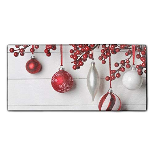 Holiday Christmas White Red Decoration Printed Kitchen Towels/Washcloths/Dish Rags,Multipurpose for Kitchen,Bathroom and Car (Washcloth Holiday)