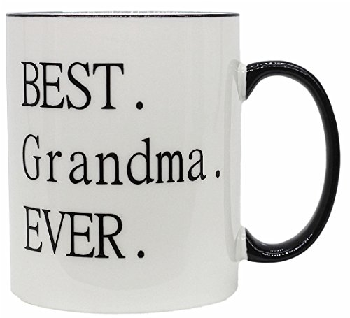 Mecai Funny mug-Best Grandma ever -11 OZ ceramic Coffee Mugs- Novelty Christmas Birthday Gifts and Grandparents Day Present Idea For Grandmother