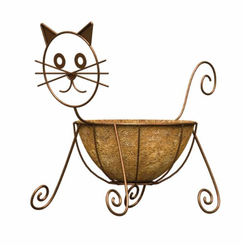 - Panacea 86655 Cat Planter with 10-Inch Coco Liner, 16-Inch Height, Rust Powder Coated Finish