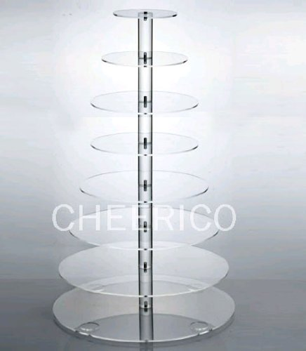 8 Tier Large Round Maypole Wedding Acrylic Cupcake Stand Tree Tower Cup Cake Display by Cheerico