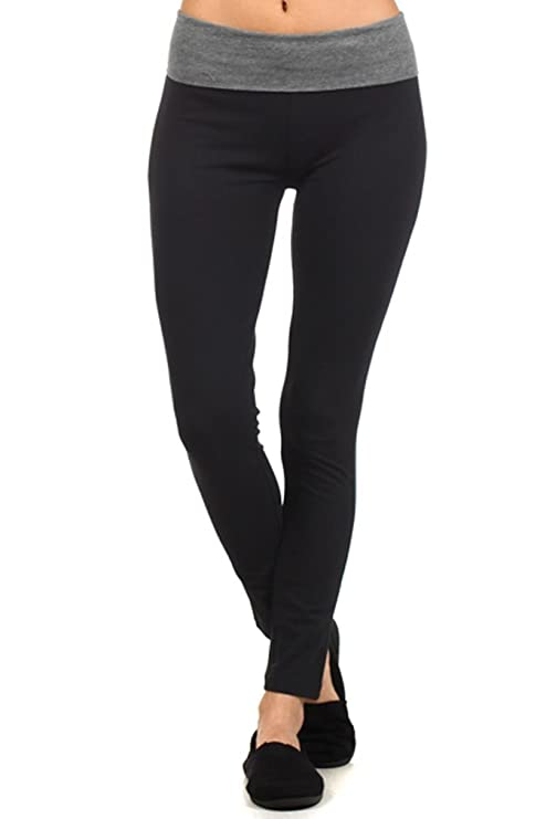 Amazon.com: MOPAS Yoga Capri with Fold Over Solid Waistband: Clothing