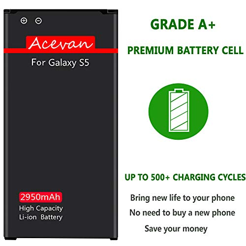 Galaxy S5 Battery Acevan 2950mAh Li-ion Battery Replacement for Samsung Galaxy S5, Verizon G900V, Sprint G900P, T-Mobile G900T, AT&T G900A, G900F, G900H, G900R4, I9600 [3 Year Warranty] by Acevan (Image #3)
