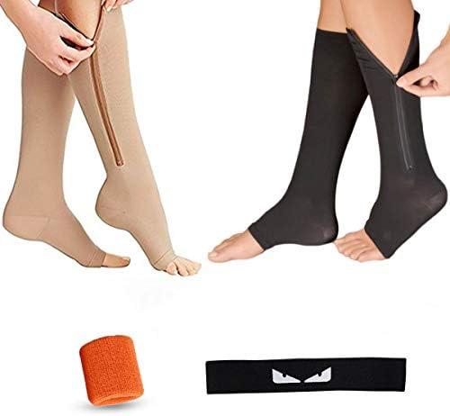 Icecode Kompressionsstrümpfe, 2 Paar elastische offene Zehensocken Sport-Stirnband Armbänder geeignet für Beinkrampfadern