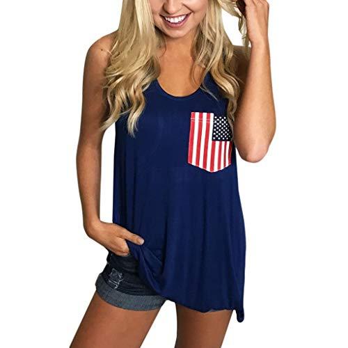 American Flag Shirt Women Tank Top Summer Sleeveless Tunic Tops 4th of July Patriotic Pockets Casual Soft T Shirts