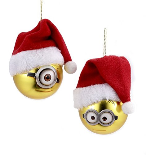 Kurt Adler 60mm Despicable me Minion W/santa Hat Glass Ball Ornament 2/asstd.