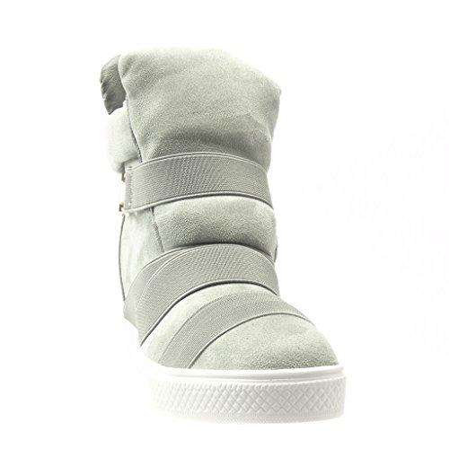 Angkorly Damen Schuhe Sneaker Keilabsatz - Hohe - Plateauschuhe - Schleife - Metallisch - String Tanga Keilabsatz 2.5 cm Grau