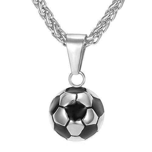 U7 Stainless Steel Black Enamel & White Soccer Ball Pendant with 22 Inch Wheat Chain