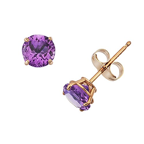 Genuine Ring Amethyst Birthstone (14k Gold Genuine .50ct TW Amethyst February Birthstone Girls Earrings)